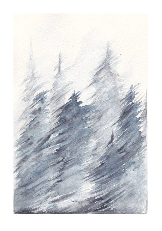 Waterverf het schilderen van bos met de winteronweer stock illustratie