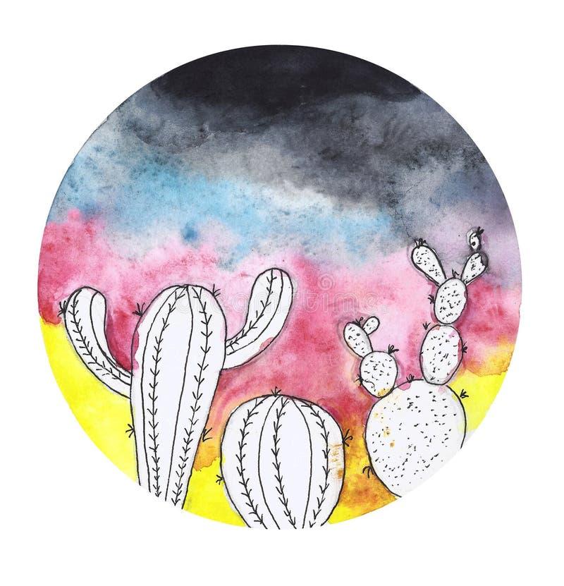 Waterverf het schilderen van een cactus stock illustratie