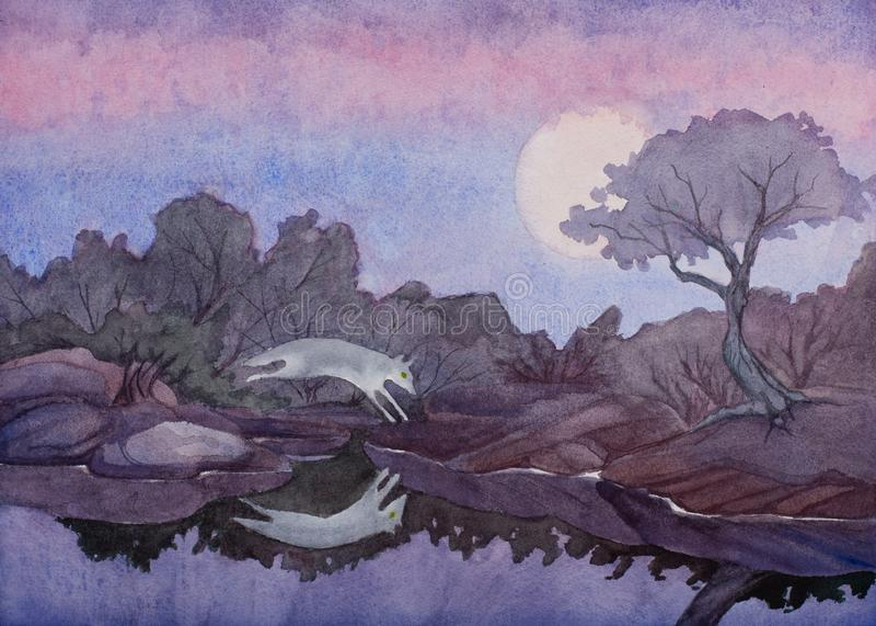 Waterverf het schilderen van een coyote die over een pool van nog water onder een volle maan in het woestijnzuidwesten springen stock foto