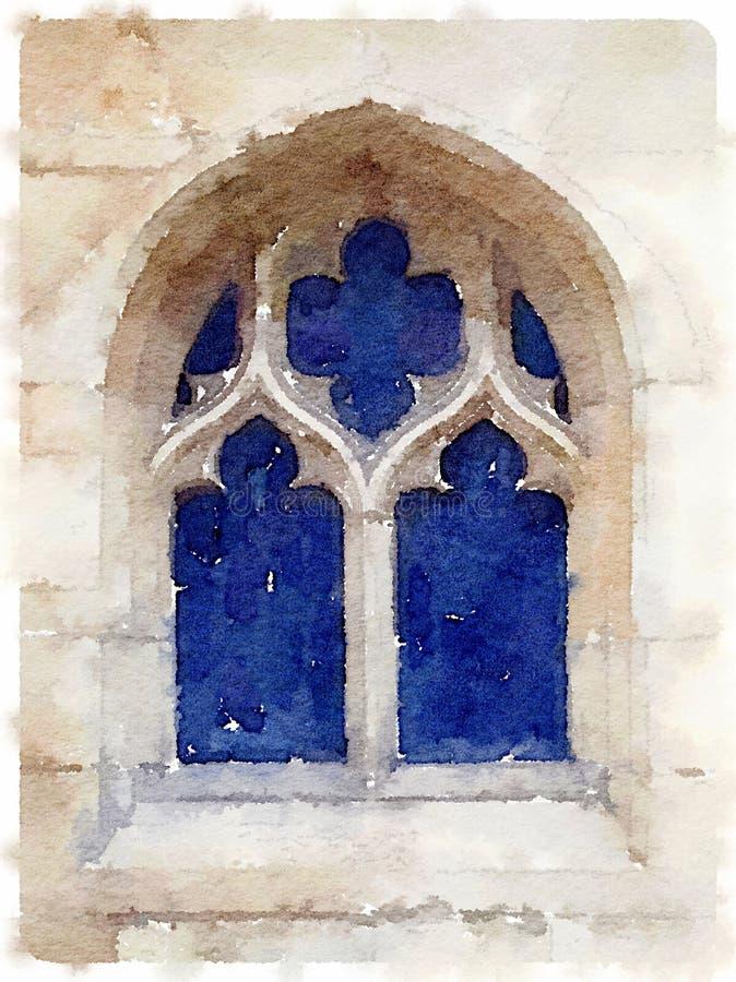 Waterverf het schilderen van een oud kathedraalvenster royalty-vrije stock afbeelding