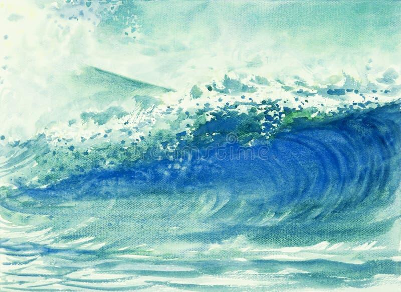Waterverf het schilderen van golven in het overzees stock illustratie