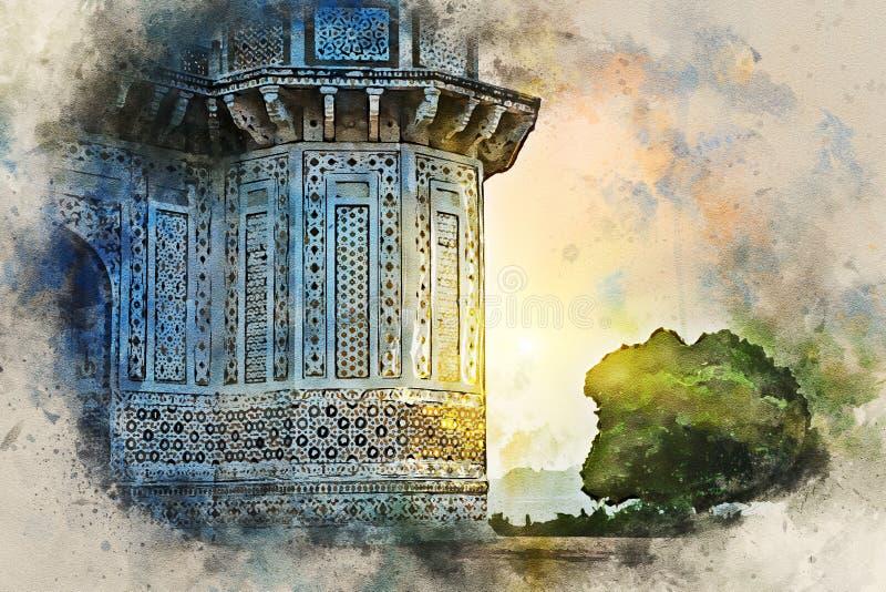 Waterverf het schilderen van itimad-ud-Daulah of Baby Taj in Agra, India vector illustratie