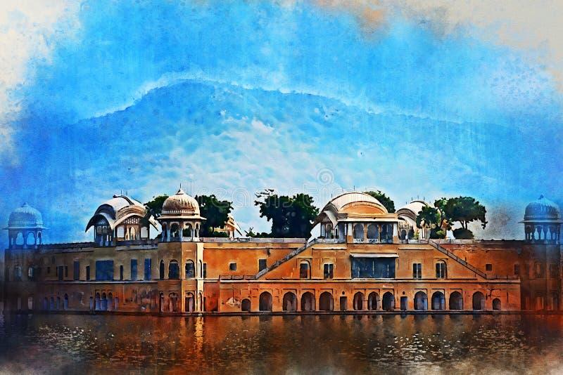 Waterverf het schilderen van Jal Mahal en de Mens Sagar Lake in Rajasthan, India stock afbeeldingen
