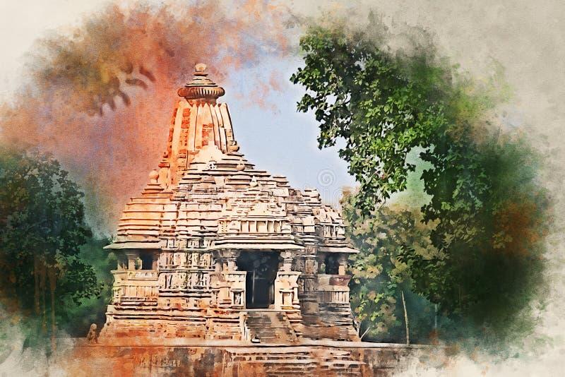 Waterverf het schilderen van mening van de Tempel van Kandariya Mahadev in India royalty-vrije stock foto