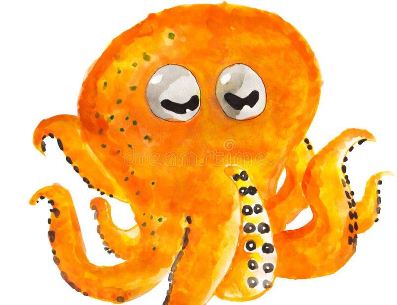 Waterverf het schilderen van octopus of tako in Japanner met oranje huid die op witte met de hand getrokken achtergrond wordt geï stock afbeeldingen