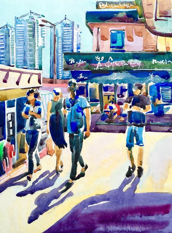Waterverf het schilderen van straat met mensen die in heldere sunl lopen stock illustratie