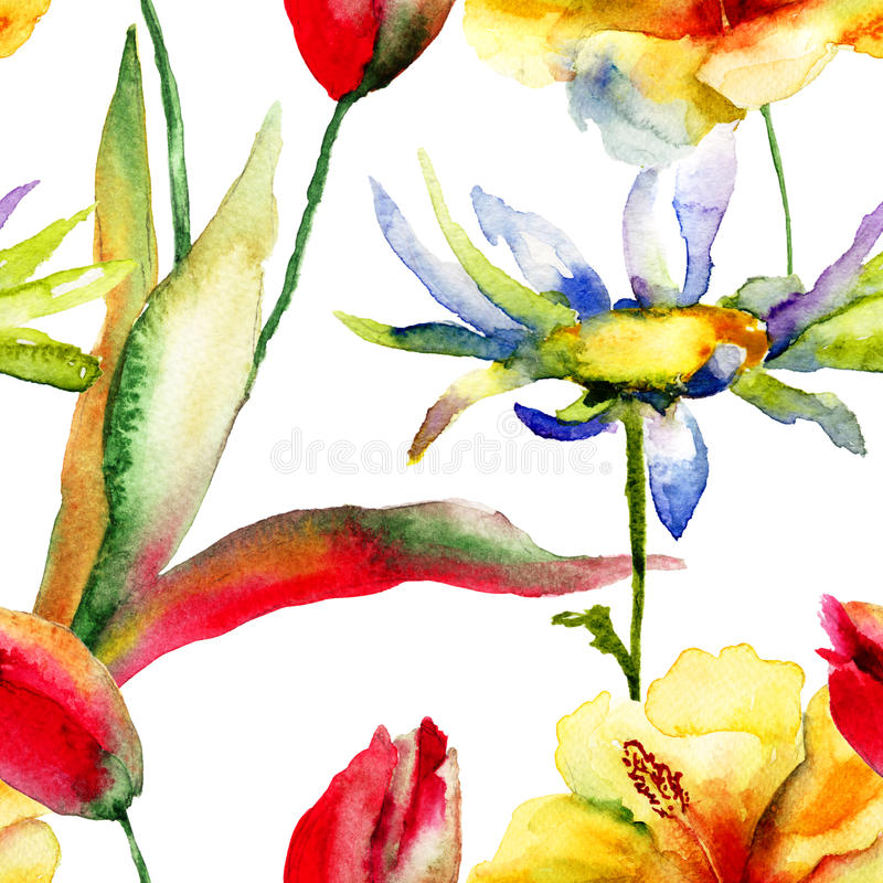 Waterverf het schilderen van Tulpen en Leliebloemen stock illustratie