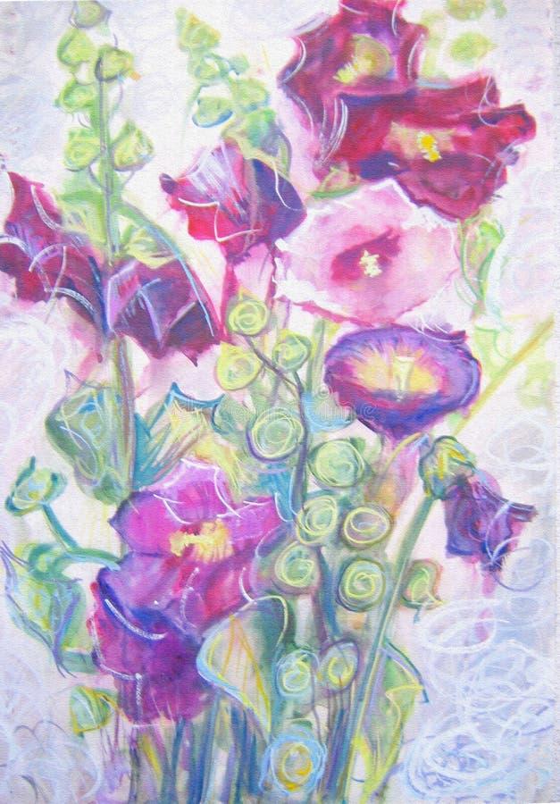 Waterverf het schilderen van violette malvebloemen Stilleven vector illustratie