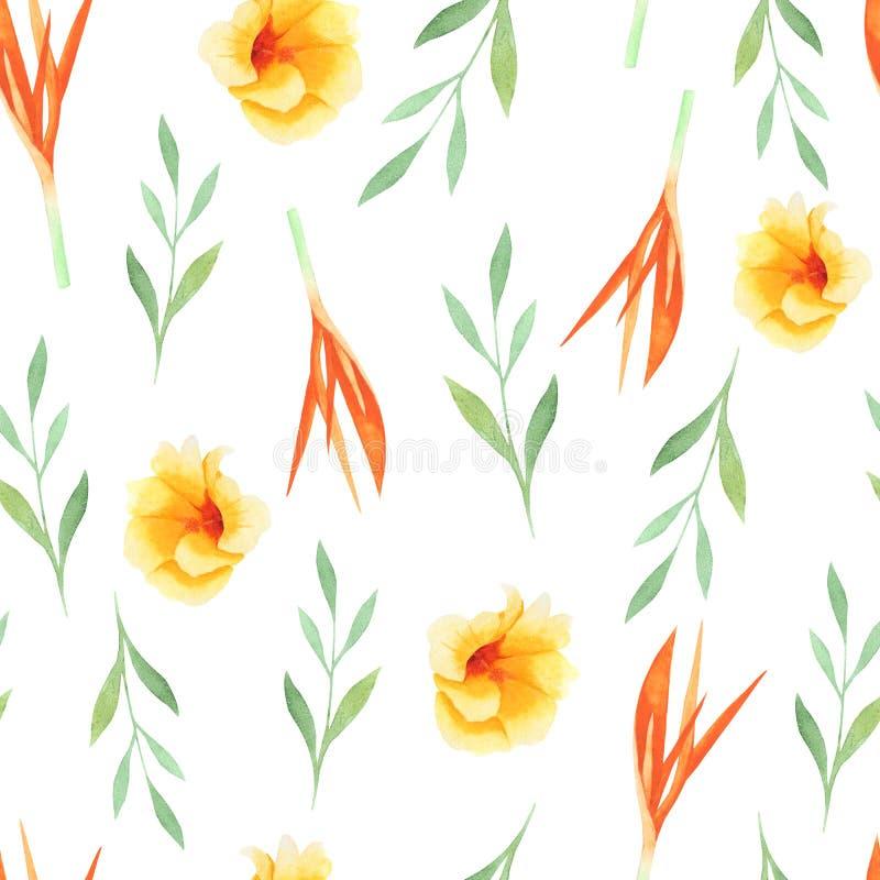 Waterverf het tropische schilderen van blad en bloemen, naadloos patroon op witte achtergrond stock illustratie