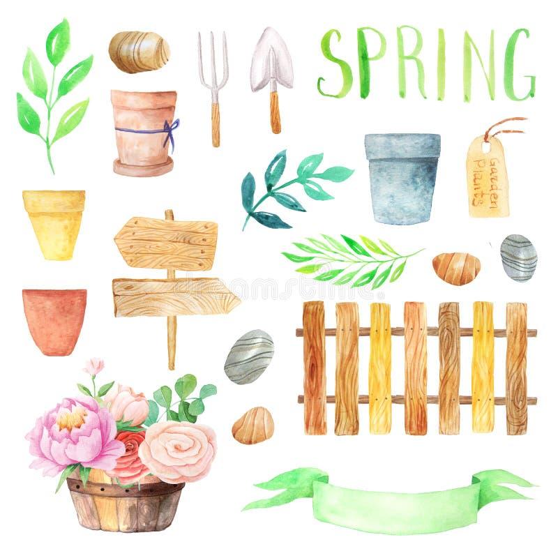 Waterverf houten elementen met kleurrijke bloemen royalty-vrije illustratie