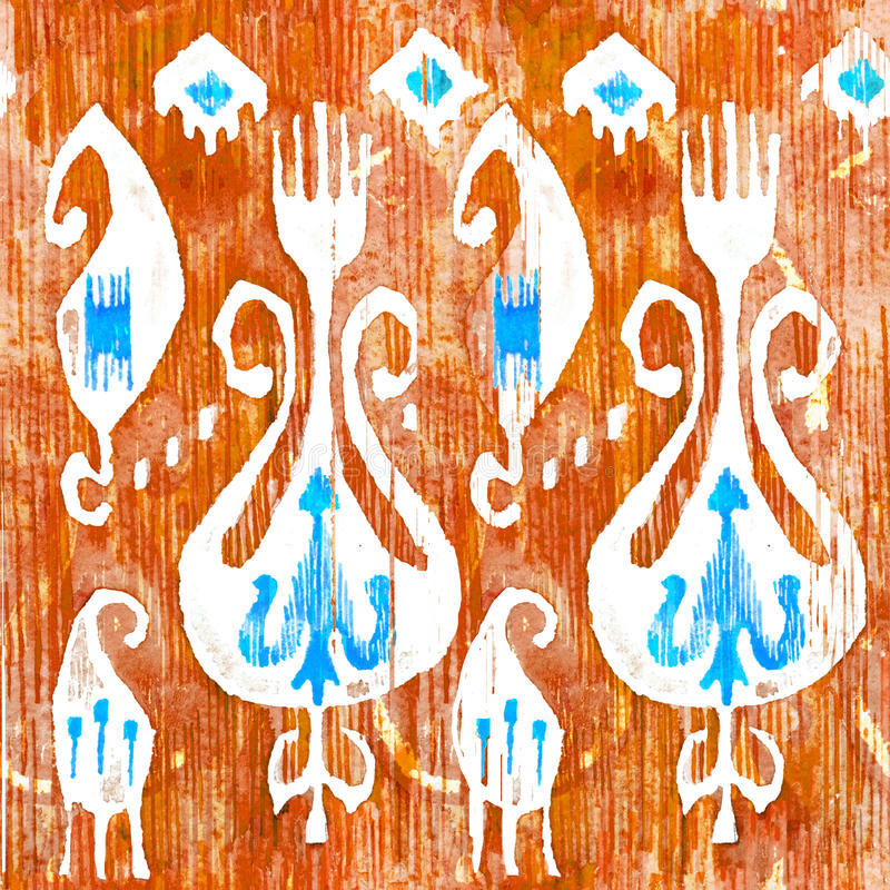Waterverf ikat naadloos patroon Decoratieve bloemen in watercolourstijl Boheemse etnisch royalty-vrije illustratie