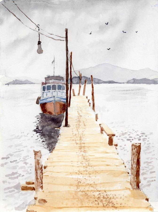 Waterverf & inkt het schilderen stock illustratie