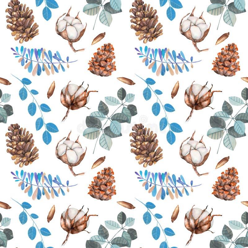 Waterverf katoenen bloemen, denneappels en blauw Kerstmis naadloos patroon van de takkenwinter royalty-vrije illustratie