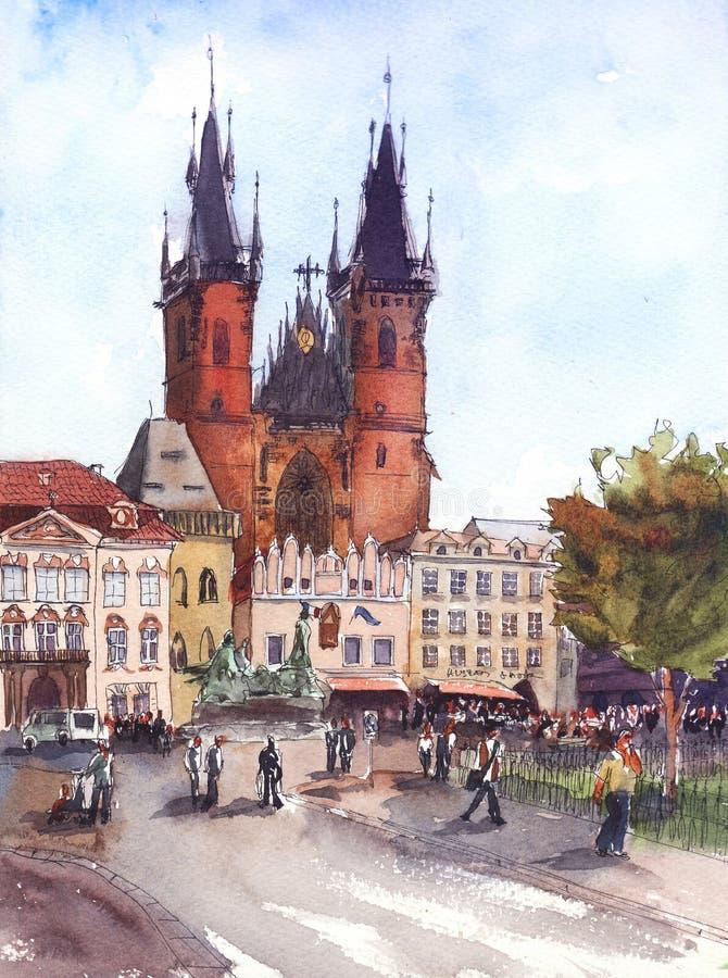 Waterverf Klassieke kerk in oud stadsvierkant dichtbij de astronomische klok van Praag van Praag, Tsjechische republiek stock illustratie