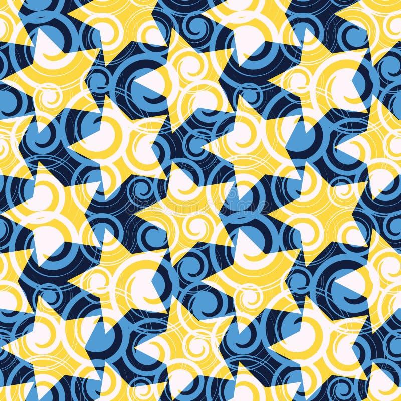 Waterverf Kleine Punten en Kleurrijk Sterren Naadloos Patroon vector illustratie