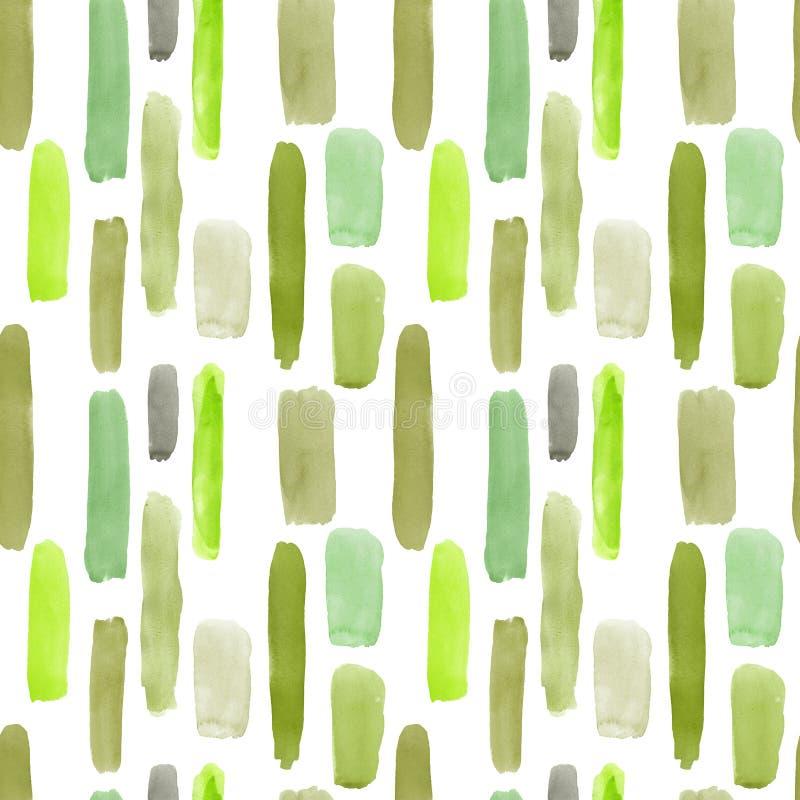 Waterverf kleurrijk abstract naadloos patroon met groene schaduwstrepen en lijnen Munt, olijf, guacamole, Eden, groen bos royalty-vrije illustratie