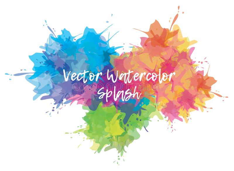 Waterverf kleurrijke plons Verfvlek voor uw achtergrond, affiche, malplaatje Vector illustratie royalty-vrije illustratie