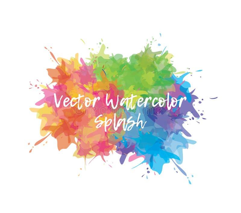 Waterverf kleurrijke plons Verfvlek voor uw achtergrond, affiche, malplaatje Vector illustratie stock illustratie