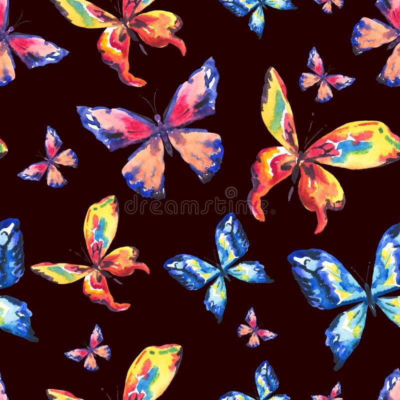Waterverf kleurrijke vlinders Naadloos patroon vector illustratie