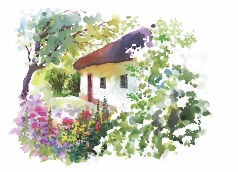 Waterverf landelijk dorp in de groene illustratie van de de zomerdag stock illustratie
