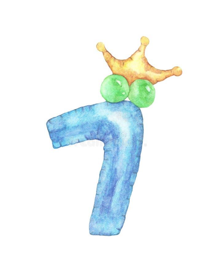 Waterverf leuk nummer 7 nummer zeven met kroon stock illustratie