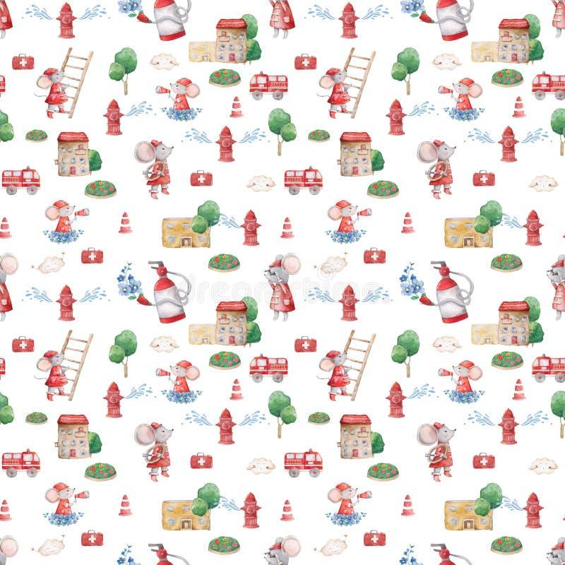 Waterverf leuke illustratie van naadloos patroon met het teambeeldverhaal van de dierenredding Hand getrokken kleurrijke illustra stock afbeeldingen