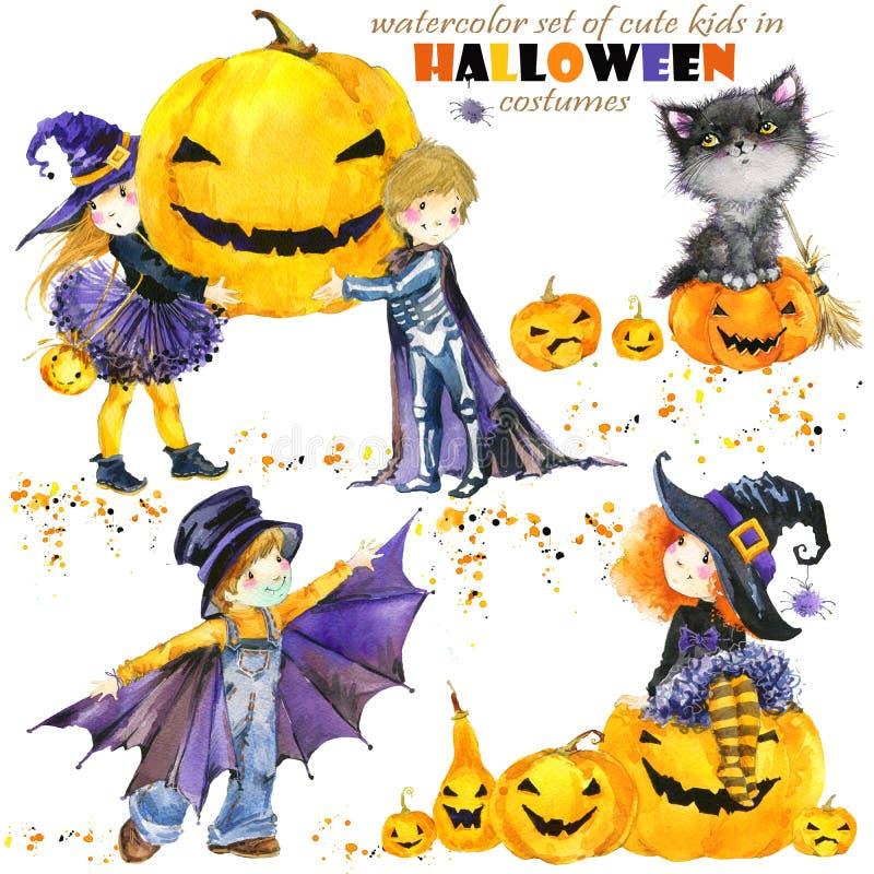 Waterverf leuke jonge geitjes in kleurrijke Halloween-kostuums Gelukkig Halloween royalty-vrije illustratie