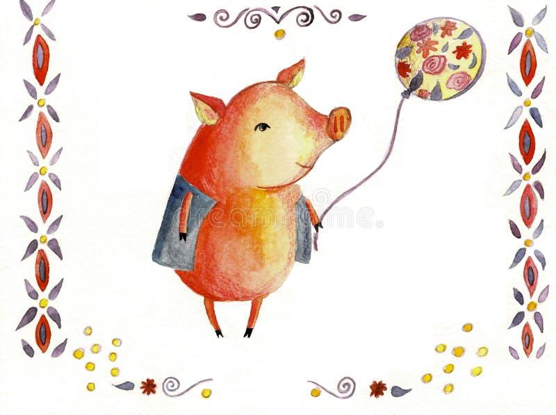 Waterverf leuke piggy geïsoleerd op witte achtergrond Hand getrokken weinig varkensillustratie Symbool van Nieuwjaar 2019 stock illustratie