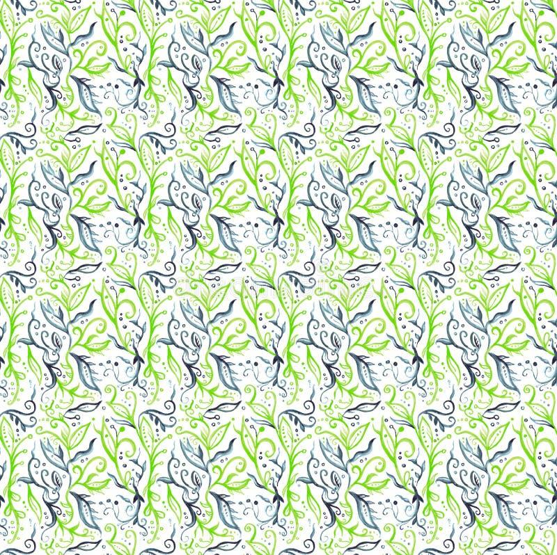 Waterverf lichtgroen blauw patroon royalty-vrije illustratie