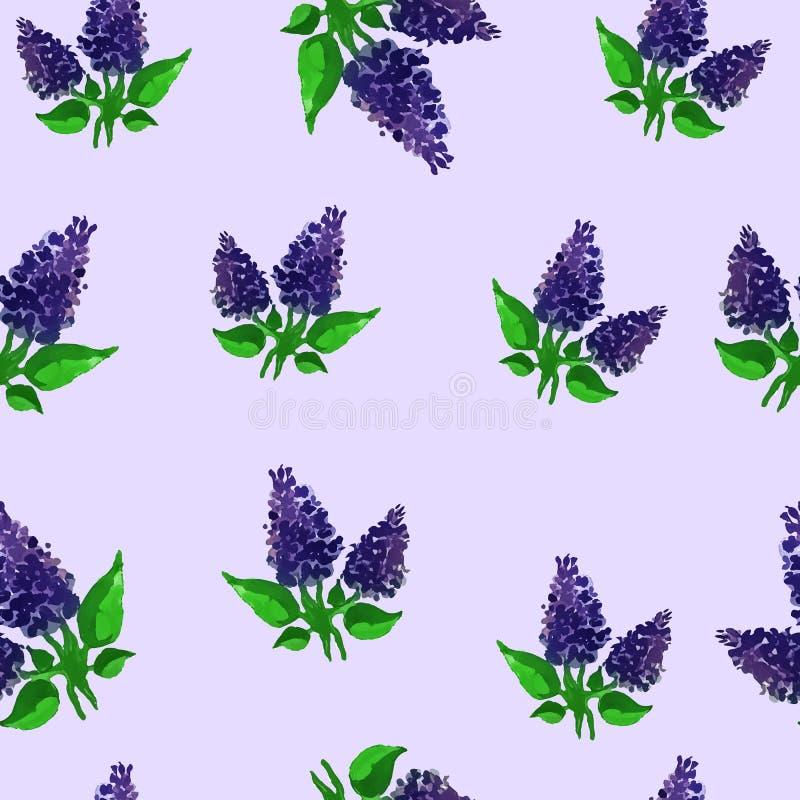 Waterverf lilac naadloos patroon royalty-vrije stock afbeelding