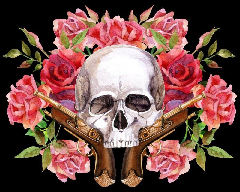 Waterverf menselijke schedel royalty-vrije illustratie