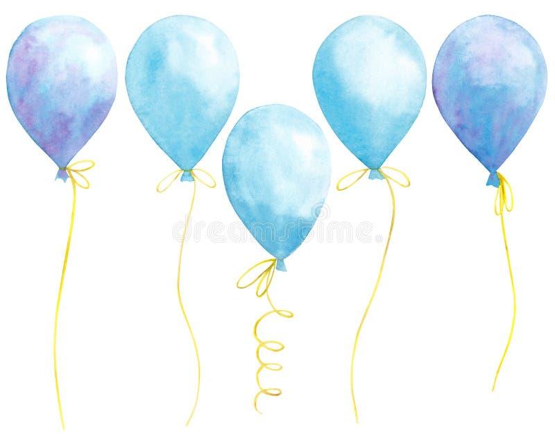 Waterverf met blauwe ballons op witte achtergrond wordt geplaatst die stock fotografie