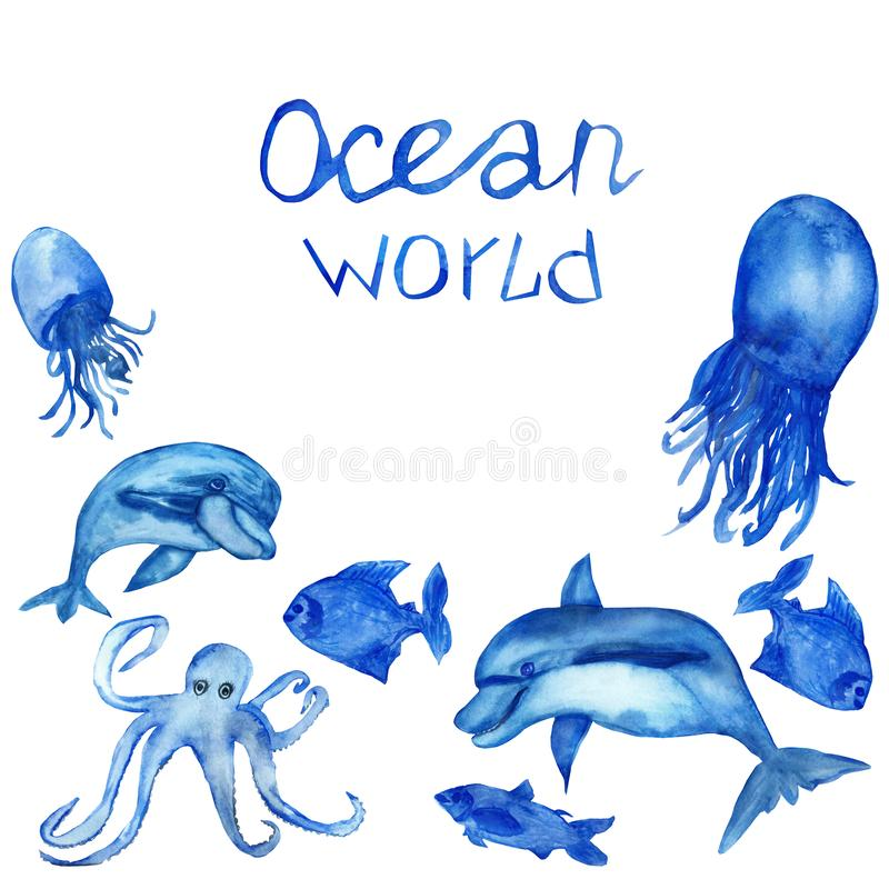 Waterverf met de hand geschilderde, blauwe octopus met tentakels, dolfijnen, kwallen, vissen, hand-van letters voorziet, ge?solee royalty-vrije illustratie