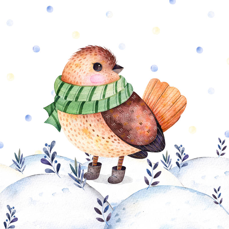 Waterverf met de hand geschilderde illustratie met een leuke vogel royalty-vrije illustratie