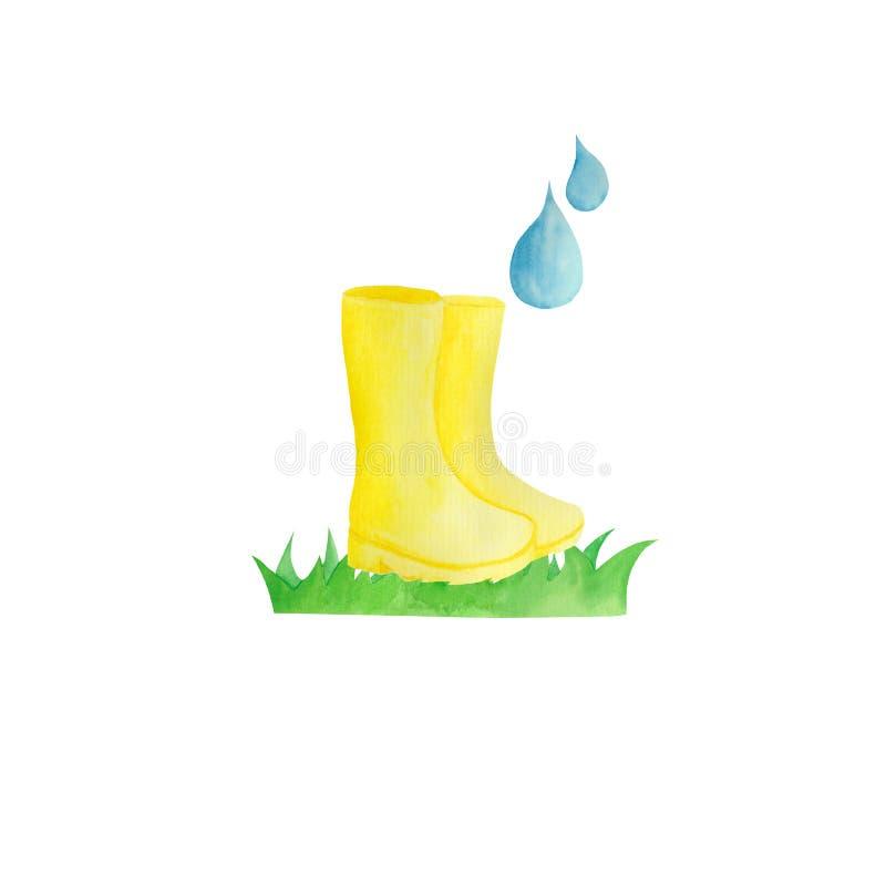 Waterverf met gele regen, paraplu, regenboog, regendruppels op een witte achtergrond wordt geplaatst die royalty-vrije illustratie