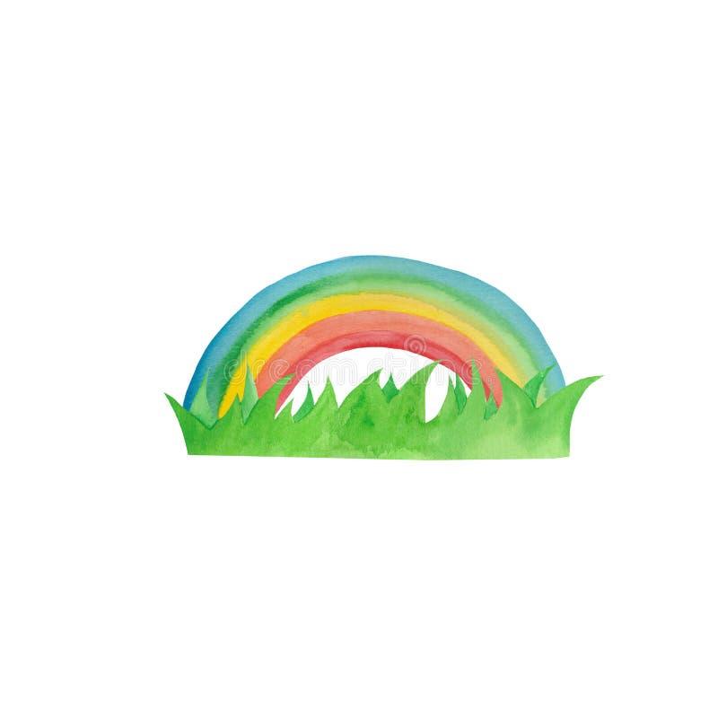 Waterverf met gele regen, paraplu, regenboog, regendruppels wordt geplaatst die vector illustratie