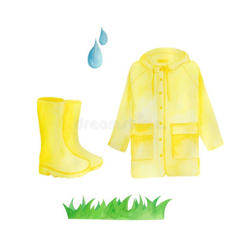 Waterverf met gele regen, paraplu, regenboog, regendruppels wordt geplaatst die royalty-vrije illustratie
