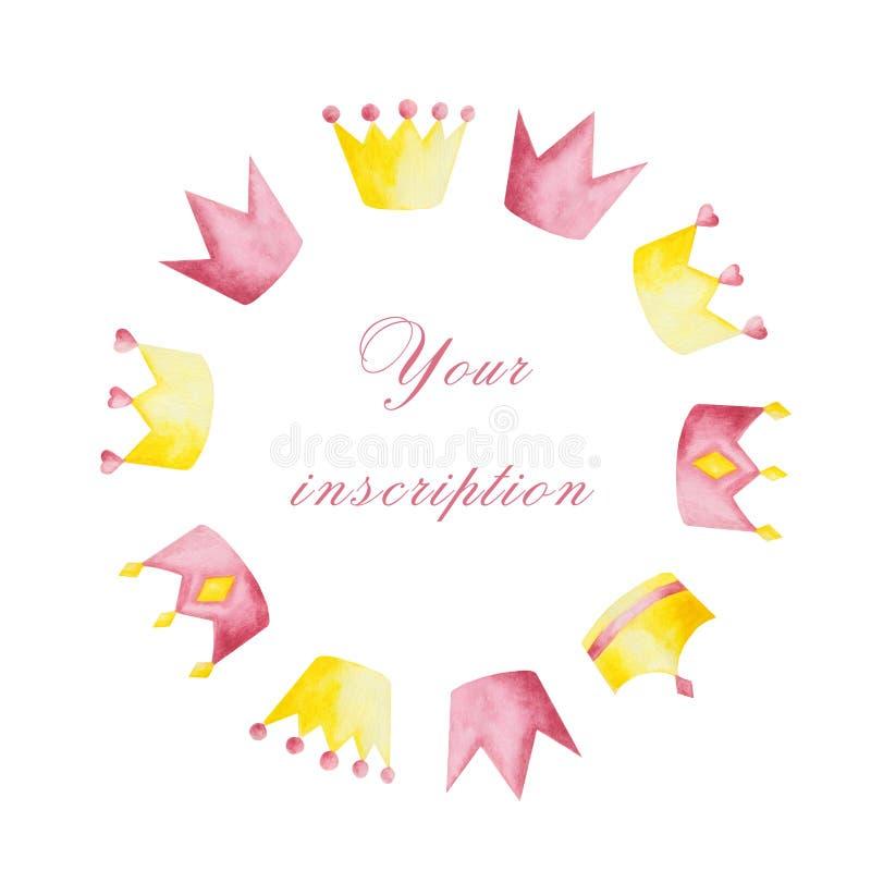 Waterverf met roze en gele kronen op witte achtergrond wordt geplaatst die royalty-vrije illustratie