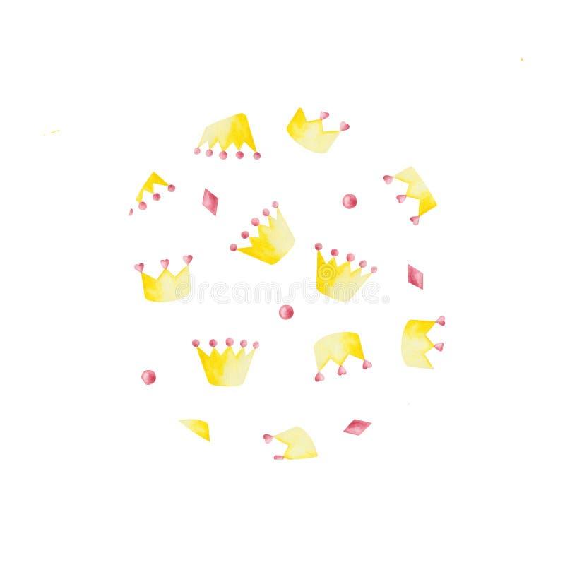 Waterverf met roze en gele kronen op witte achtergrond wordt geplaatst die Ideaal voor kaarten en uitnodigingen stock illustratie