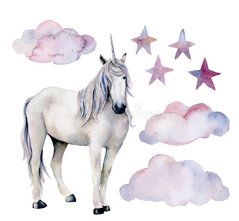 Waterverf met witte eenhoorn wordt geplaatst die De hand schilderde magische die paard, wolken en sterren op witte achtergrond wo stock illustratie