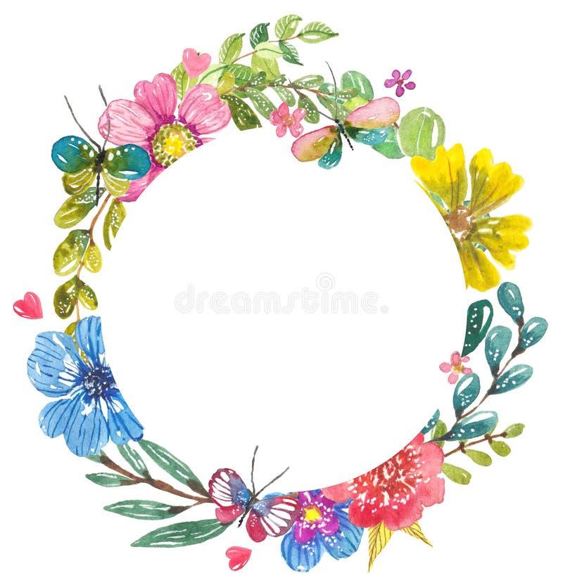 Waterverf mooi bloemenontwerp met vlinders stock illustratie
