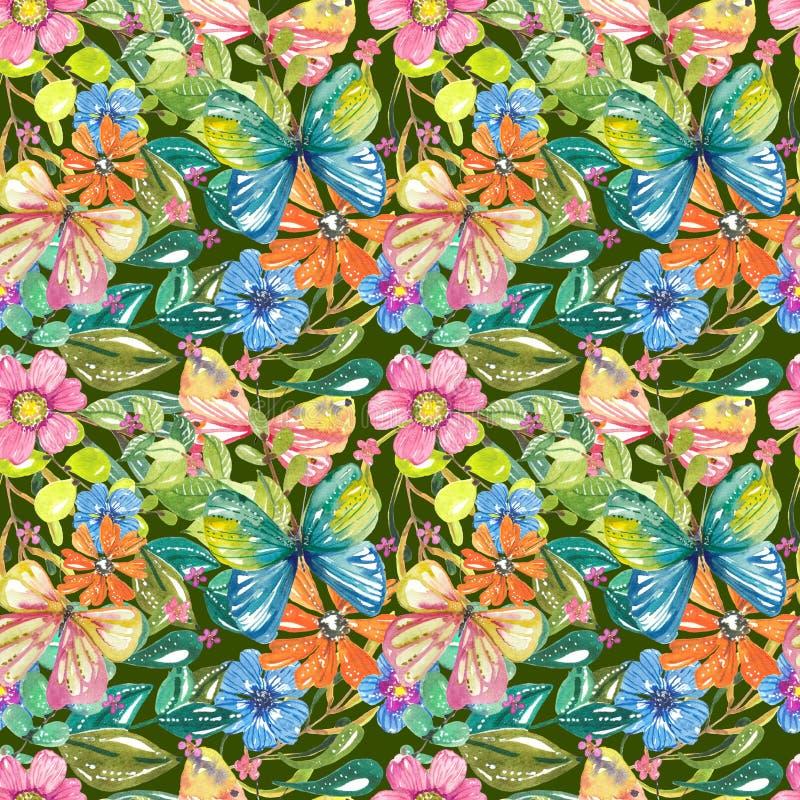 Waterverf mooi bloemenontwerp met vlinders, naadloos klopje royalty-vrije illustratie