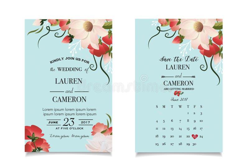 Waterverf mooie bloemen op muntachtergrond van modern huwelijk invitatoin vector illustratie
