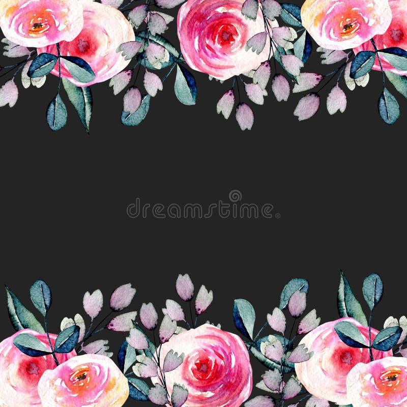 Waterverf mooie rozen, het blauwe en purpere die malplaatje van de takkenkaart, hand op een donkere achtergrond wordt getrokken royalty-vrije illustratie