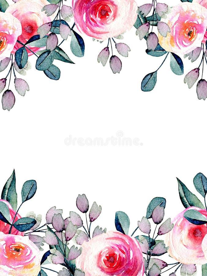 Waterverf mooie rozen, het blauwe en purpere die malplaatje van de takkenkaart, hand op een witte achtergrond wordt getrokken vector illustratie
