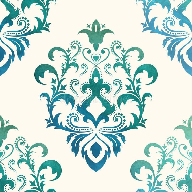 Waterverf naadloos behang in de stijl van Barok Kan voor achtergronden worden gebruikt en de pagina vult Webontwerp Vector illust stock illustratie