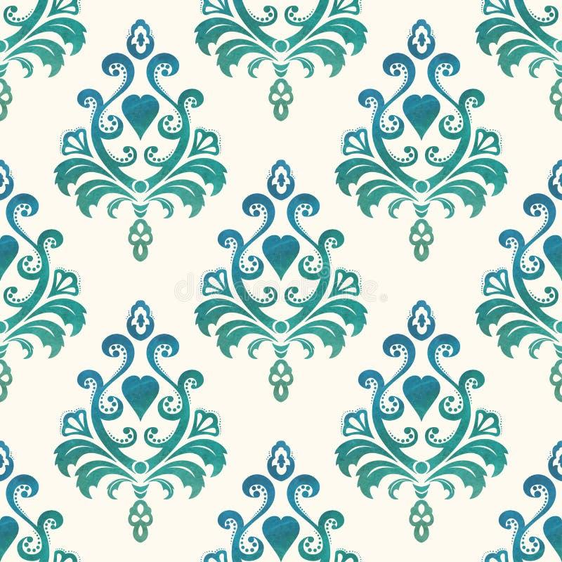 Waterverf naadloos behang in de stijl van Barok Vector illustratie stock illustratie