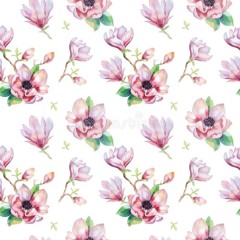 Waterverf naadloos behang met magnoliabloemen, bladeren royalty-vrije illustratie
