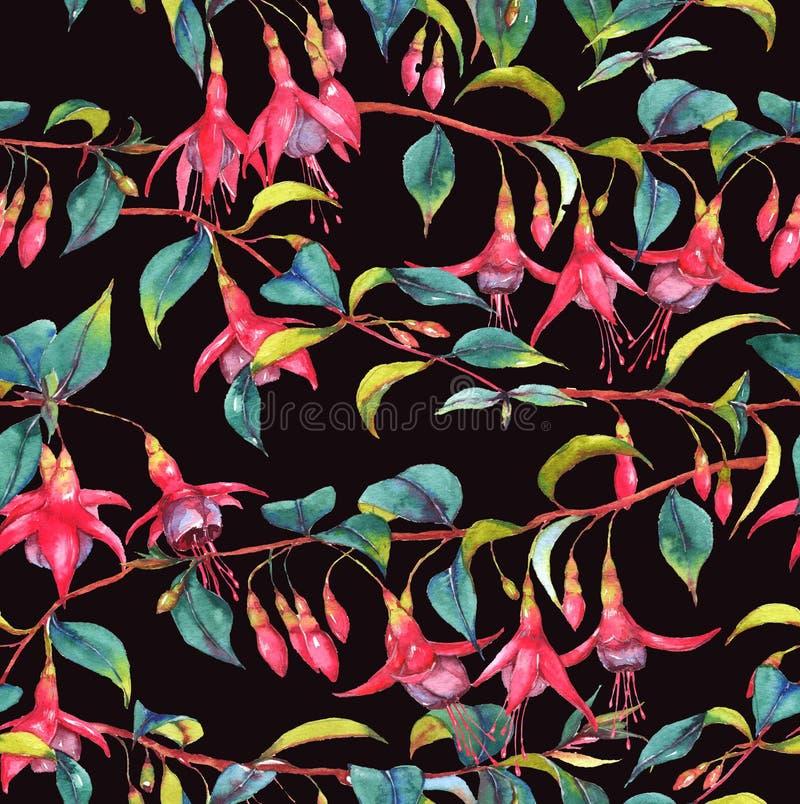 Waterverf naadloos bloemenpatroon stock illustratie