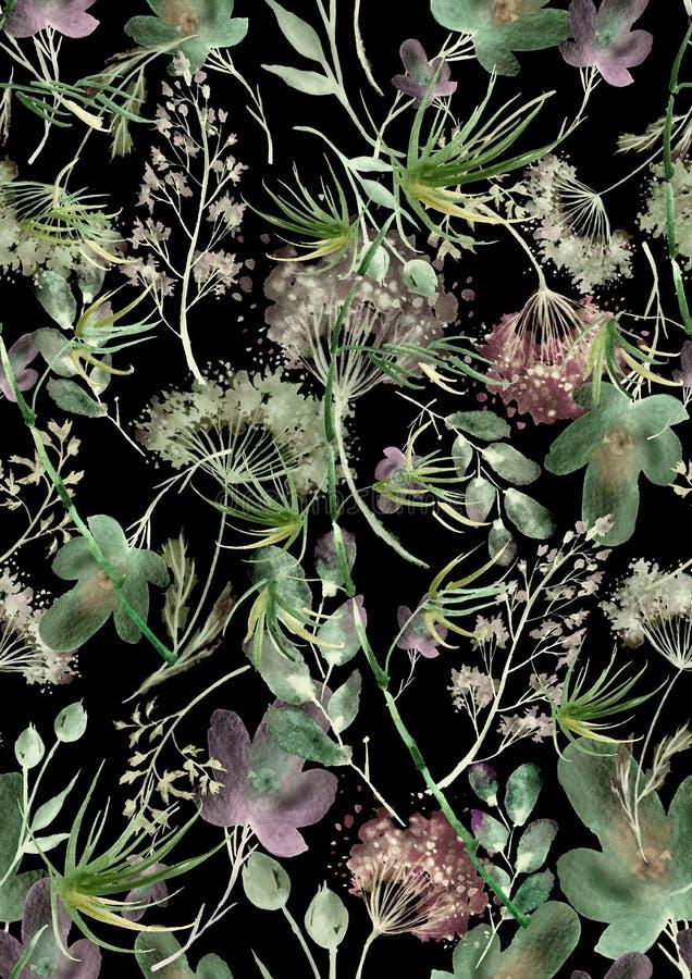 Waterverf naadloos patroon, achtergrond met een bloemenpatroon Mooie uitstekende tekeningen van installaties, bloemen, wilgentak, royalty-vrije stock foto's